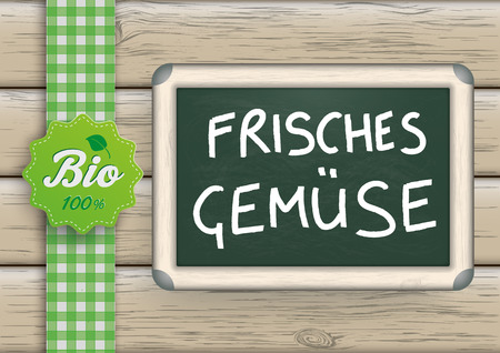 fresh vegetables: German text Frisches Gemuse, translate Fresh Vegetables.