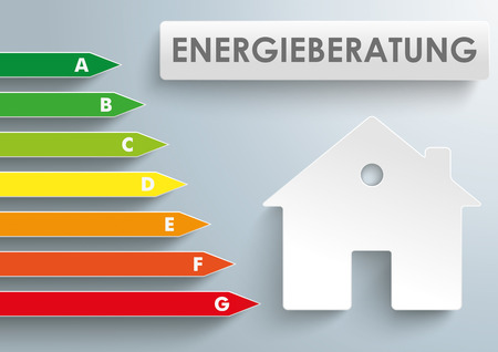 advisor: German text Energieberatung, translate Energy Consulting.  Illustration