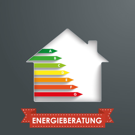 ten empty: House hole with energy pass and banner. German text Energieberatung, translate Energy Consulting.