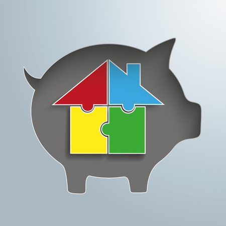 fonds: Piggy bank with colored puzzle house.