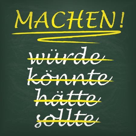 """Deutsch text """"sollte, hätte, Könnte, Würde, Machen!"""", Übersetzt """"sollte, haben sollte, könnte, würde, Make! Eps 10 Vektor-Datei."""