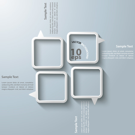 quadrat: Four black speech bubbles on the grey background. Eps 10 vector file. Illustration