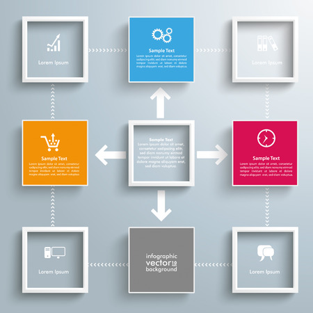 outsourcing: Infographic design with squares and arrows on the gray background. Eps 10 vector file.