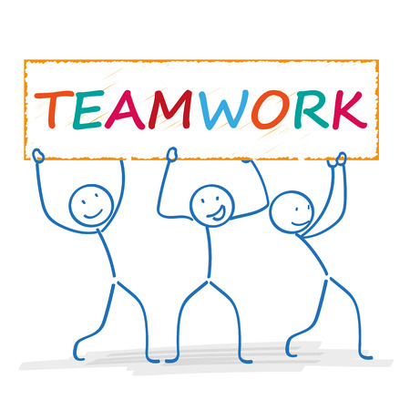 Stickmen with banner and text teamwork. Eps 10 vector file.