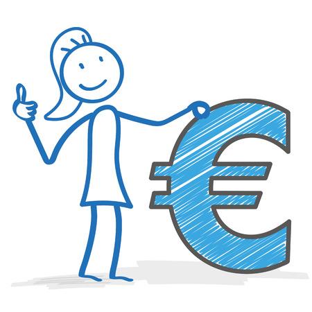 coinbank: Stickwoman con euro en el fondo blanco. Eps 10 archivos de vectores.