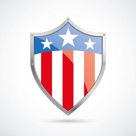 白い背景に米国旗保護シールド。Eps 10 ベクトル ファイル。