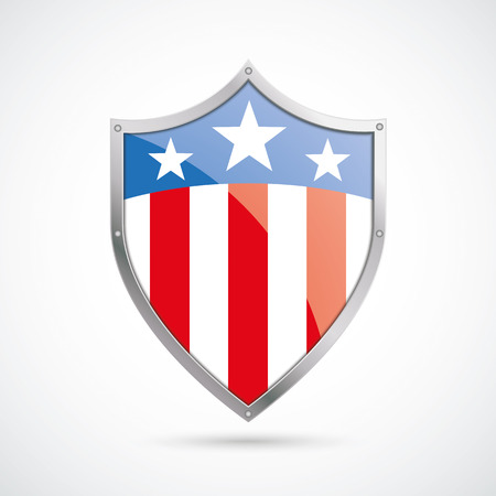 silver state: US flag protection shield on the white background. Eps 10 vector file.