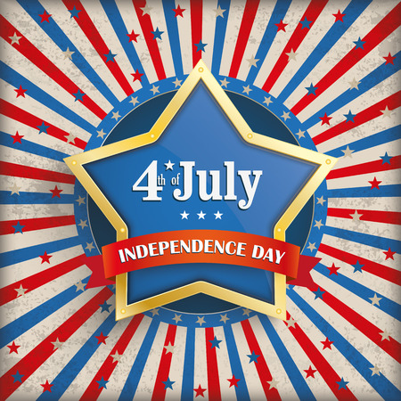 Vintage independence day background design with golden star. Eps 10 vector file. Vector