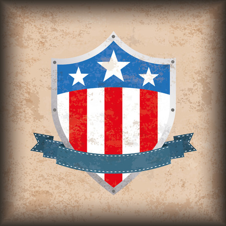 eps: Vintage independence day background design with brown colors and US-Flag shield. Eps 10 vector file.