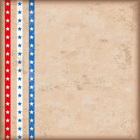 4 july: Vintage independence day background design with brown colors and US-Flag stripes. Eps 10 vector file. Illustration