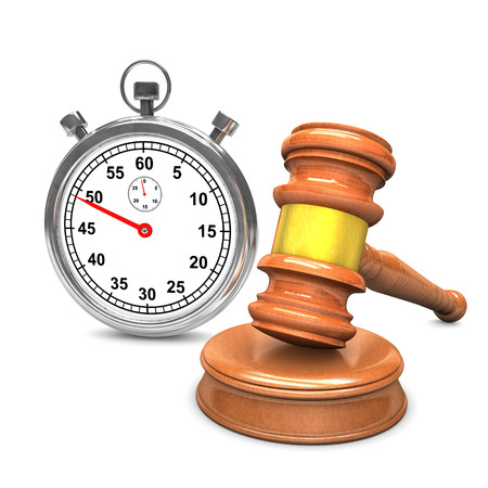 legally: Auction hammer with stopwatch on the white.
