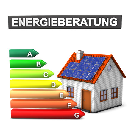 "quot: German text  ""Energy consulting "" translate  ""Energy Consulting "". Energy Scale with house on the white."