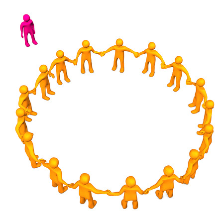 outsider: Orange toons in a circle with a pink outsider toon. Stock Photo