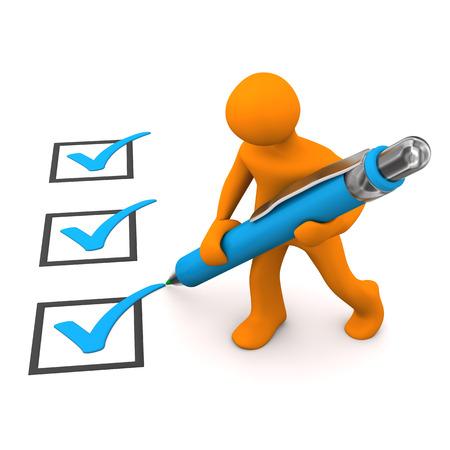 Manikin with blue ballpen and checklist. 3d illustration.