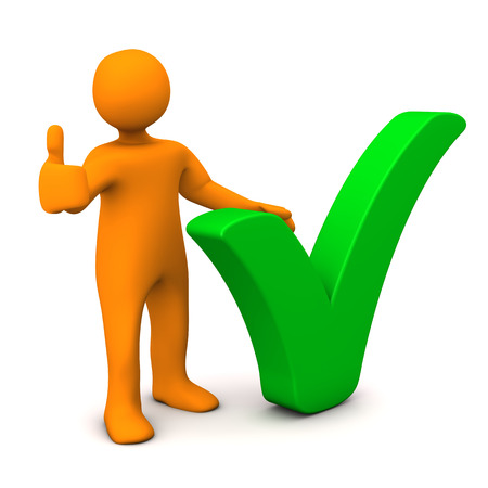 green tick: Orange cartoon characger with green tick on the white. Stock Photo