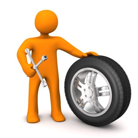 Orange Cartoon-Figur mit Auto-Rad und Schraubenschlüssel. Standard-Bild