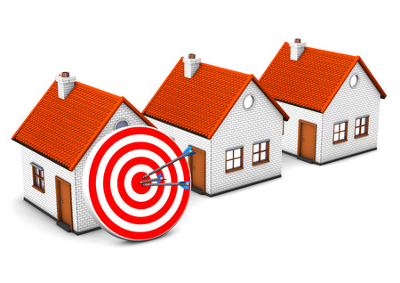 realtor: 3 houses with red target and arrow on the white.