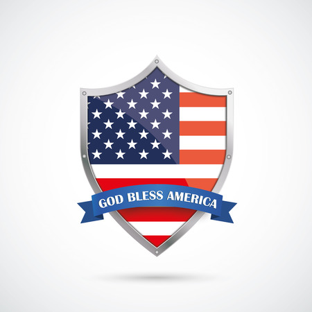patriotic: US-Flag protection shield on the white background.  Illustration