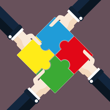conformity: 4 hands with rectangle puzzle pieces. Eps 10 vector file.