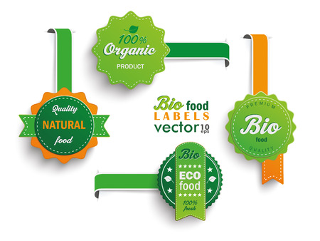 Collection of 4 bio labels. Stock Illustratie