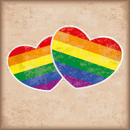 homosexual sex: 2 rainbow hearts on the vintage background.