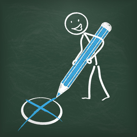 stickman: Blackboard with stickman and blue pen.