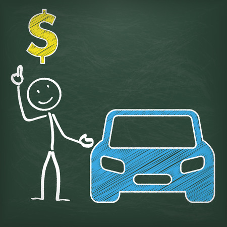 eps 10: Blackboard with stickman, blue car and dollarsymbol. Eps 10 vector file.