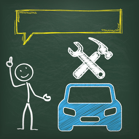 repair shop: Blackboard with stickman, blue car and yellow speech bubble.