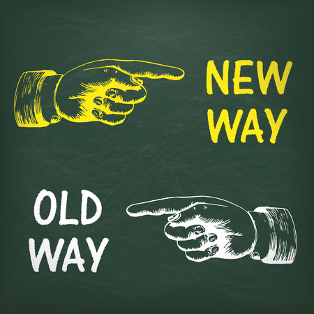new way: Human hands with text new way and old way.