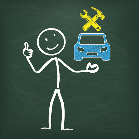 Blackboard with stickman and blue car.  Vector