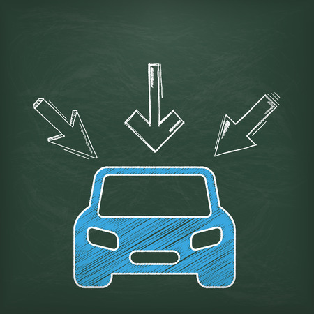auto insurance: Blackboard with blue car and 3 arrows.