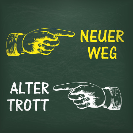 alter: German text Neuer weg and Alter Trott, translate New Way and Old Way. Eps 10 vector file.