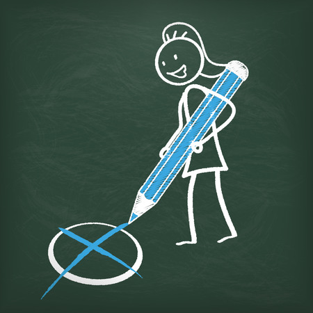 blue pen: Blackboard with female stickman and blue pen.  Illustration