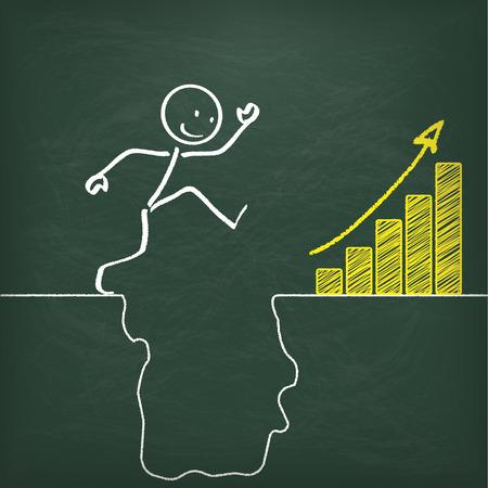 rift: Blackboard with stickman and big rift and yellow chart.  Illustration