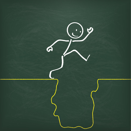 conquers: Blackboard with stickman and big rift.