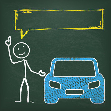 Blackboard with stickman, blue car and yellow speech bubble.  Vector