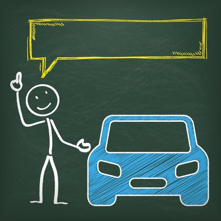 yellow car: Blackboard with stickman, blue car and yellow speech bubble.
