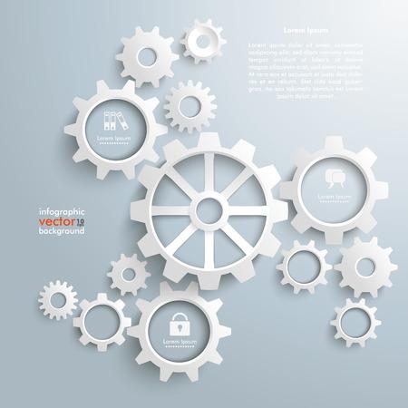 engranajes: Engranajes blancos con centro en el fondo gris. Vectores