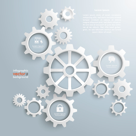 White gears with centre on the gray background.  Иллюстрация