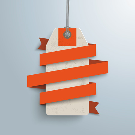options: Orange paper ribbon with price sticker on the gray background.