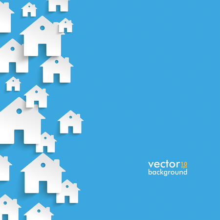 rent house: Infographic with white houses on the blue background.