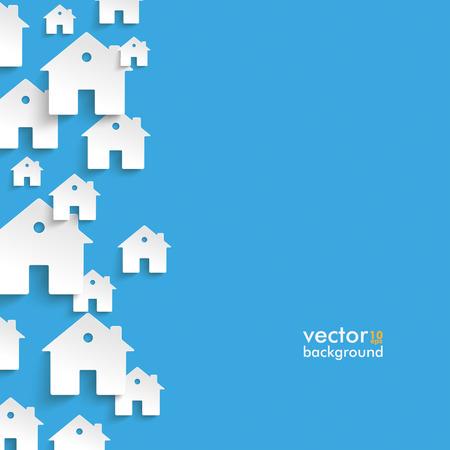 Infographique de maisons blanches sur fond bleu.