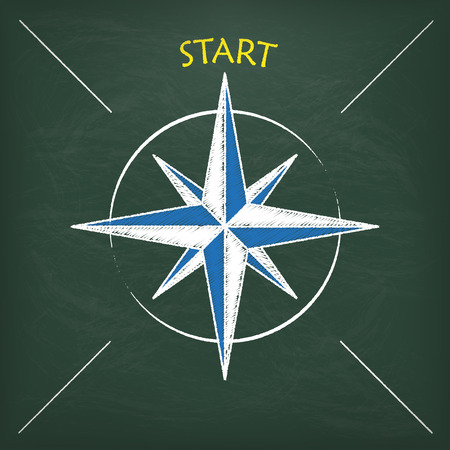 new direction: Blackboard with scribble compass and text Start.