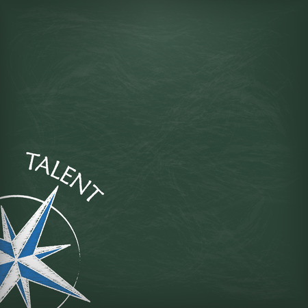 apprenticeship: Blackboard with scribble compass and text Talent. Illustration