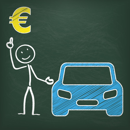 Blackboard with stickman, blue car and eurosymbol. Vector