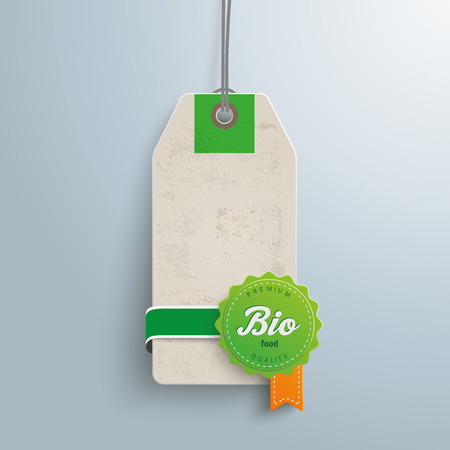 price label: Price sticker with bio label. Illustration