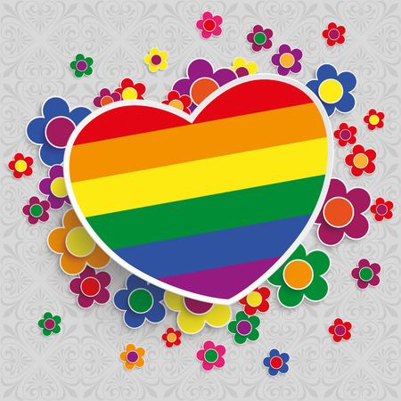 liberal: Ornaments with rainbow heart and flowers on the gray background