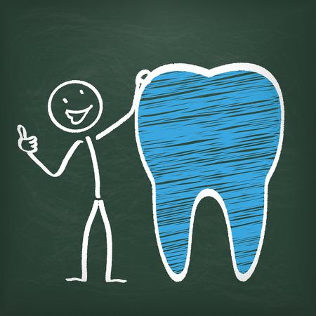 bonhomme allumette: Blackboard avec stickman et la dent bleue.