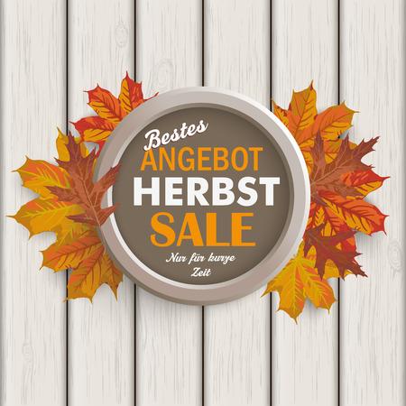 herbst: German text bestes Angebot, Herbst, Nur für kurze Zeit, translate best offer, Autumn, limited time only. Illustration