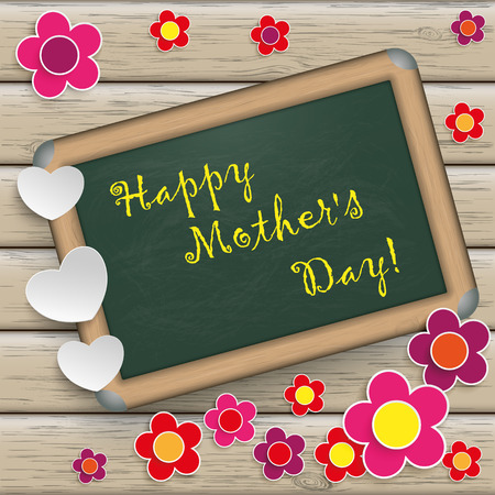 mothering: Mothers Day design with wooden background.